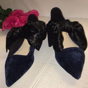 Zara Women Black Blue Velvet Flats Shoes Size 35